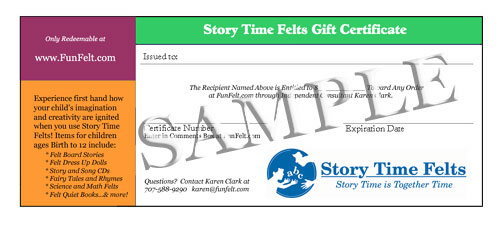 Story Time Felts Gift Certificate Sample
