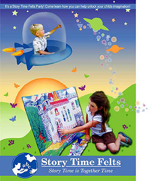 Story Time Felts Postcard Invitations